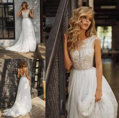 e9b4e7b8f9 Summer Beach Wedding Dress Bohemian Lace Applique Backless Tulle Bridal Gown  New