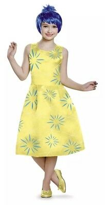 Inside Out Movie Deluxe Joy Child Kids Costume Large New Yellow Dress Wig