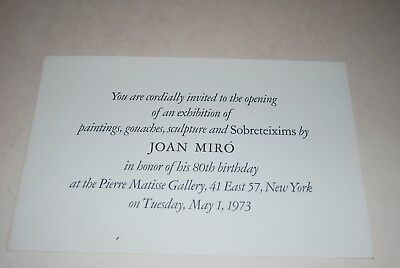 RARE JOAN MIRO 80th Birthday Celebration EXHIBIT INVITE 1973 NYC