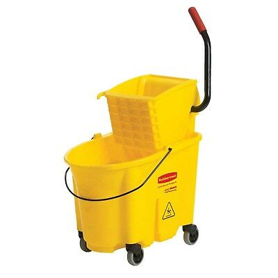 Commercial Mop Bucket Wringer Combo Side Press Janitor Cleaning 35-quart Yellow