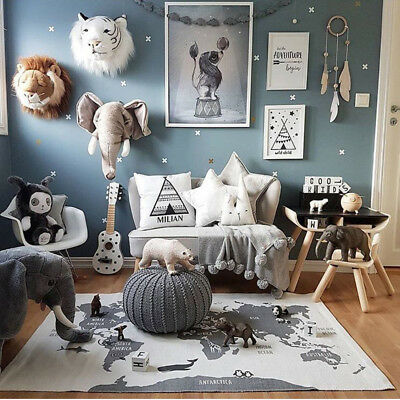 140x88cm Baby Crawling Floor Rug Kids Children Game Play Mat Carpet Map Blanket