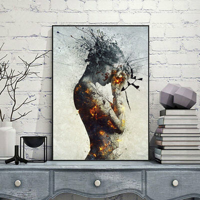 Abstract Burning Beauty Stampa su Tela Poster Arte Murale Pittura Camera Decor