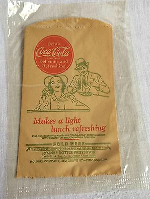 Coca-Cola No Drip Bottle Protector Sleeve Paper Bags Coke Graphics Vintage