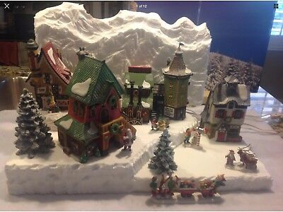 Christmas Village Mountain Landscape Backdrop Dept56 Northpole Dickens Lemax