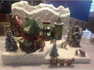 Christmas Village Mountain Landscape Backdrop for Dept56 Northpole Dickens Lemax