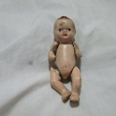 Vintage Miniature Ceramic Bisque Jointed Baby Doll Figurine, Japan