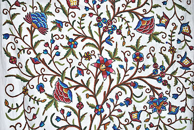 Crewel Embroidered Upholstery Fabric Multicolor Tree Of Life 52 X