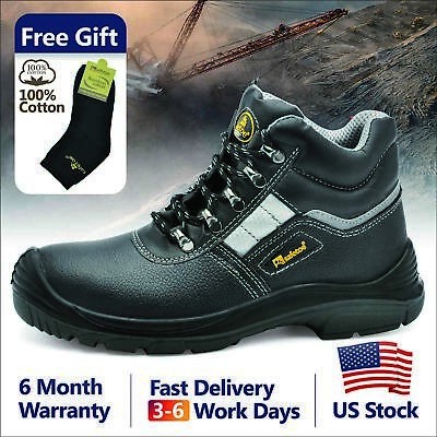 Safetoe Safety Shoes Work Boots Mens Steel Toe Cap Leather Reflective Deco US