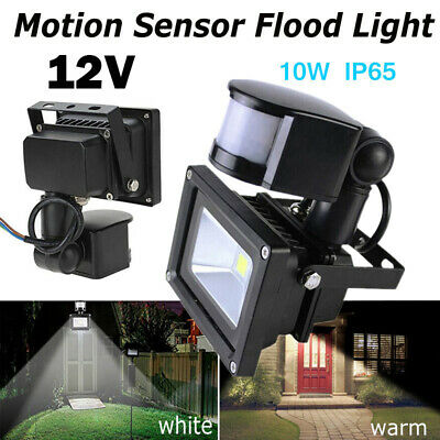 LED Flood Light PIR Motion Sensor Square 10W 12V Security Spotlight Landscape