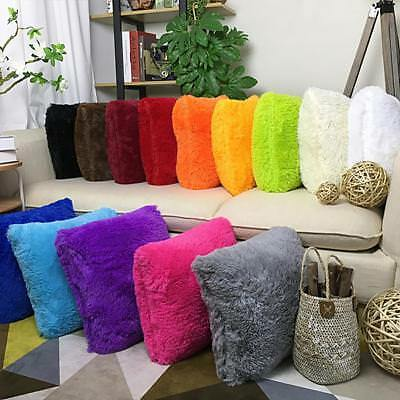 Throw Home Decoration Soft Fur Fluffy Sofa Pillow Plush Luxury Cushion Cover