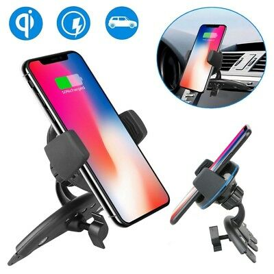 Qi Wireless Charger Car CD Slot Mount Holder For S9/S8+iPhone X