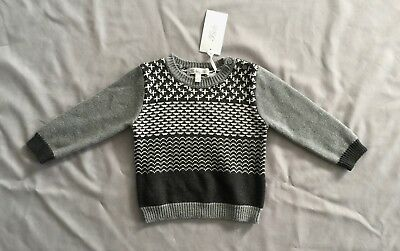 NWT Bebe by Minihaha BABY BOYS GREY KNIT JUMPER 1 SZ 9 -12 MONTHS *SEE POST DEAL
