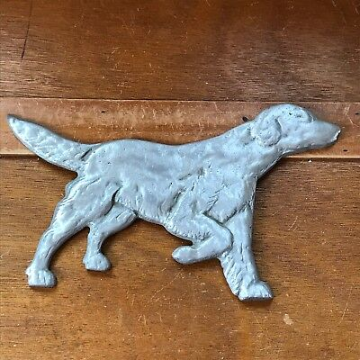 Vintage Silver Colored Carved Metal Pointer Hunting Dog Wall Plaque Medallion Si