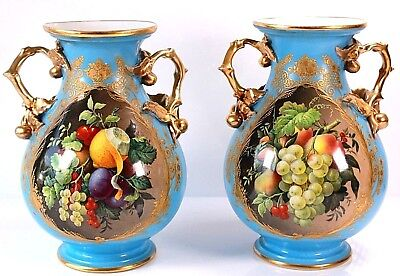 ANTIQUE PAIR OF SEVRES OR PARIS PORCELAIN TURQUOISE VASES c1840