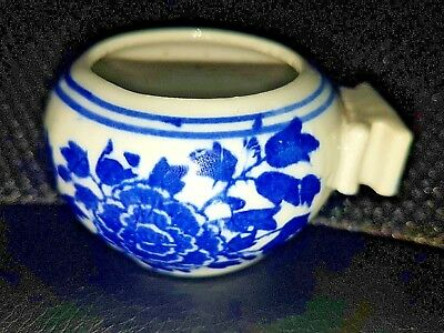 Antique Chinese Blue & White Porcelain Bird Feeder Peony Chrysanthemum Marked