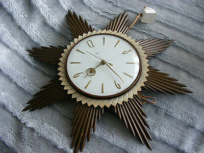 60's 70's Vintage Retro Metamec SS101 Sunburst Starburst Electric Wall Clock