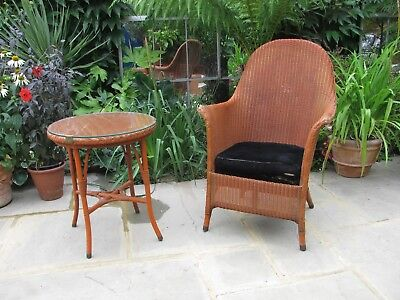Quality vintage wicker chair and matching table both dated July 1939 rare find!!