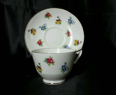 Crown Staffordshire English Bone China Teacup & Saucer - Floral Bouquets!
