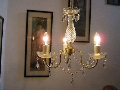 Very Pretty Vintage French Style 3 Arm Crystal & Brass Chandelier
