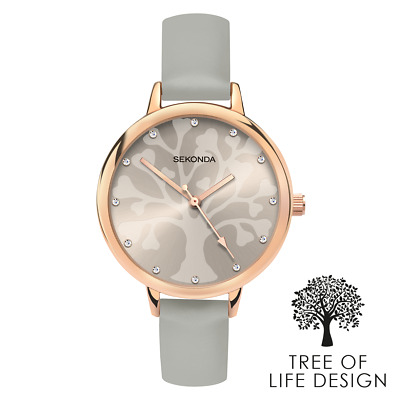 Sekonda Ladies Editions Grey Tree Of Life Stone Set Dial Watch 2649