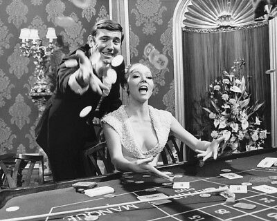 Ohmss Diana Rigg George Lazenby Throwing Chips Casino Gaming Table 8X10 Photo