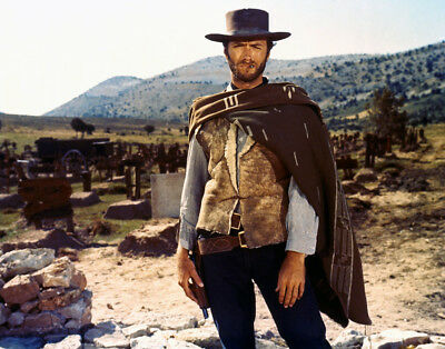 Clint Eastwood The Good, Bad And Ugly 8x10 Photo Iconic Pose In Poncho Cigar