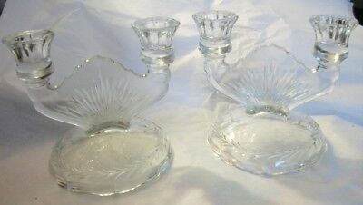 "vintage clear candlesticks candelabra Sunburst pair  5"" tall"