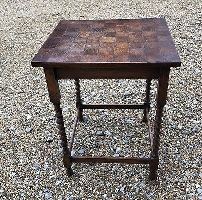 Square Topped Wooden Table With Twisted Legs