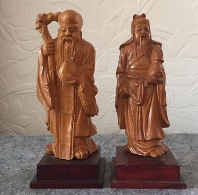 """2 Stunning Wood Carving Figures Of Chinese Mythology On Plinths VGC 6:1/2"""" High"""