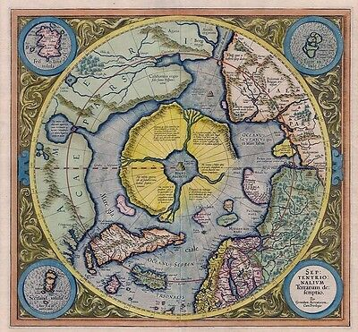 Septentrionalium Terrarum Colour North Pole Arctic Map Poster by Gerard Mercator