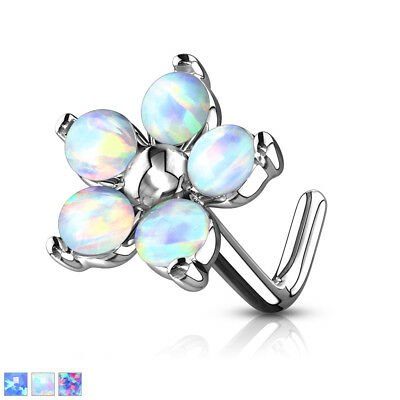 """Flower With Opal Petals 316L Surgical Steel """"L"""" Bend Nose Stud / Ring"""