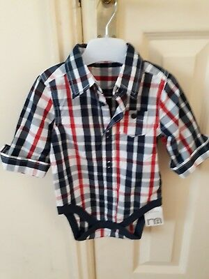 Baby boys checked long sleeved cotton vest size 3-6 months