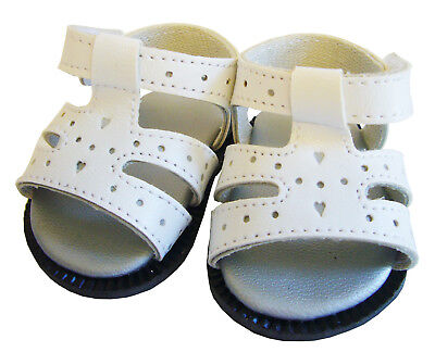 For BITTY BABY Doll Clothes White Heart Cut-Out Sandals Shoes Accessories