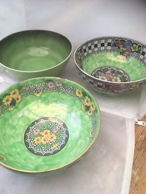 Maling ware LARGE bowls X 3 lustre primrose one has  chip only others perfect