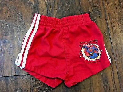 Vintage The Man of Steel Superman 2T Boy Swim Shorts Red 1960-1980 Just4kids