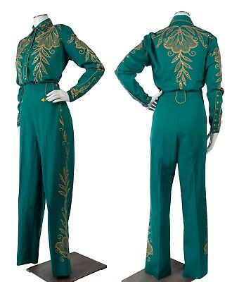 Vintage 50s NUDIE Style Rodeo Queen Western Suit w/Gold Embroidery & Rhinestones