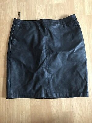 Leather Effect Black Skirt Size 12