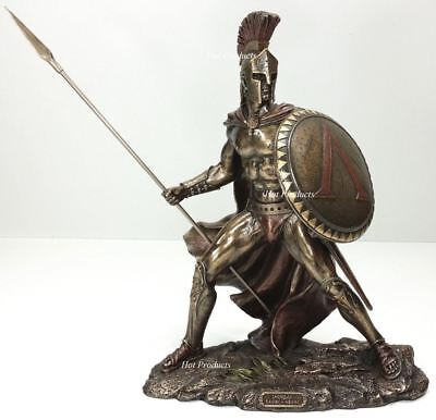 13.5 LEONIDAS Greek Warrior SPARTAN KING Statue Sculpture Figurine SPEAR SHIELD