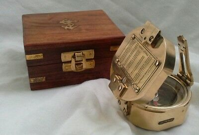 Antique Style Brunton Compass with wooden box. Modern reproduction.