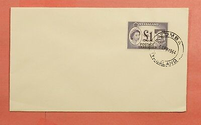 1964 Nyasaland Fdc 1 Pound Revenue Overprint Zomba Cancel