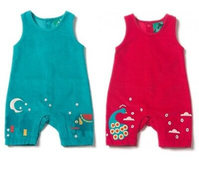 Little Green Radicals Organic DUNGAREES 0 3 6 9 12 18 24 Peacock Elephant cord