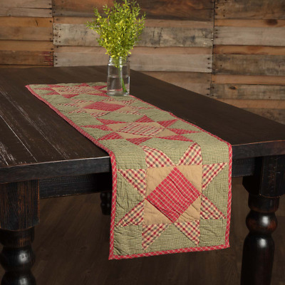 """New Primitive Country Folk Art Dolly Star Red Green Quilted Table Runner 48"""""""