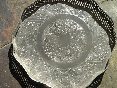 Vintage   Silver Plate On Copper     Engraved  Tray   Sheffield
