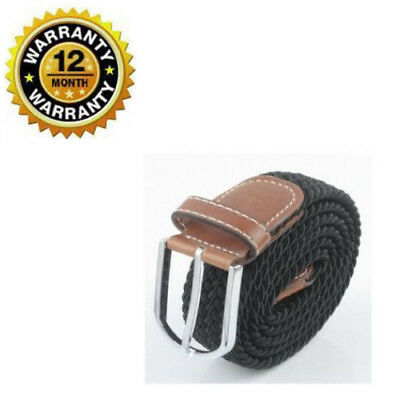 Women Belt Canvas Fabric Woven Braided Black Stretch With Silver Metal Buckle