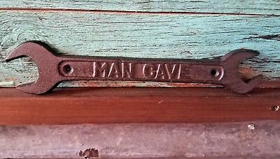 """New Cast Iron MAN CAVE Wrench Wall Sign 11"""" tool snap on craftsman mac"""