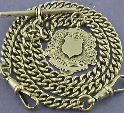 Long Antique Solid Silver Double Albert Watch Chain  Neck Chain W Fob 18.7 Inch