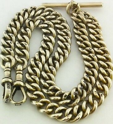 Heavy Long Antique Solid Silver Double Albert Watch Chain Neck Chain 17.1 Inch