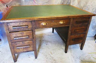 ANTIQUE Oak teacher style TWIN PEDESTAL writing table office DESK leather