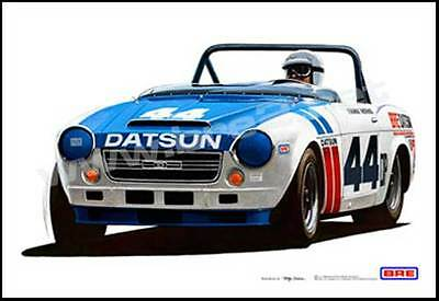 """SIGNED! Championship #44 BRE Datsun Roadster  (19""""x13"""") sold by Peter Brock BRE!"""