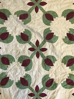 "Antique Handsewn Sand Stitched Green White Burgandy Tulip Quilt 70""X 85"""